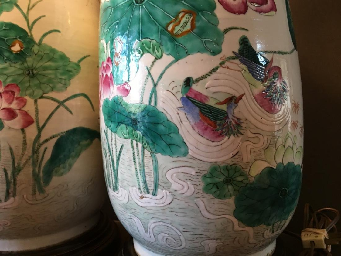 ANTIQUE Chinese Large Famillie Rose flower Vase Lamps, - 2