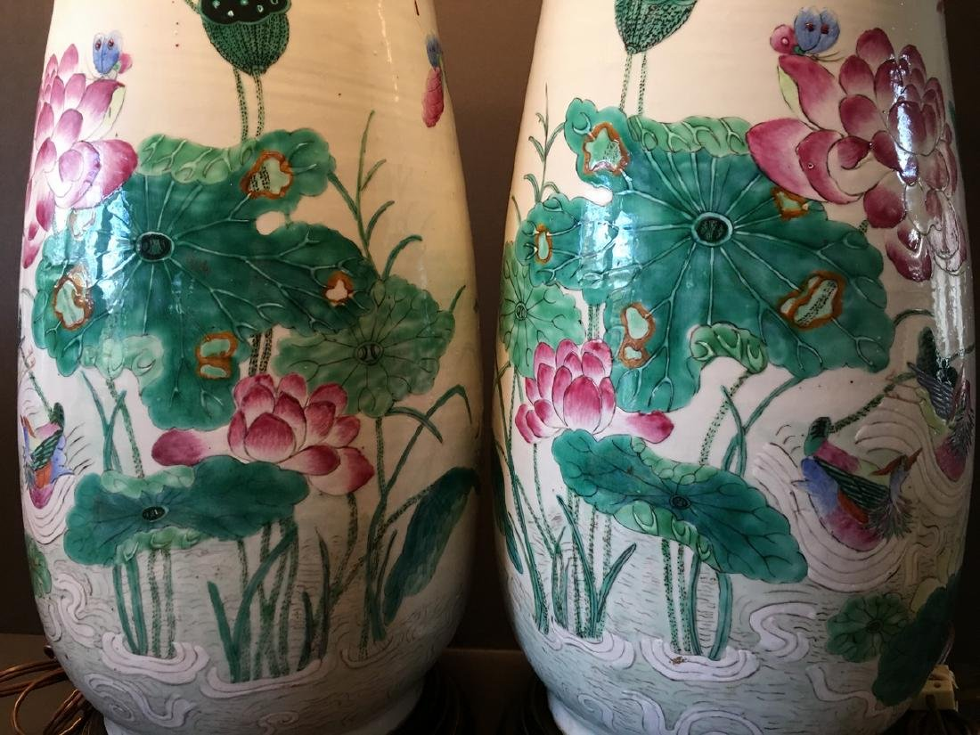 ANTIQUE Chinese Large Famillie Rose flower Vase Lamps, - 3