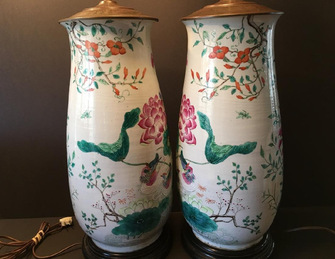 ANTIQUE Chinese Large Famillie Rose flower Vase Lamps, - 4
