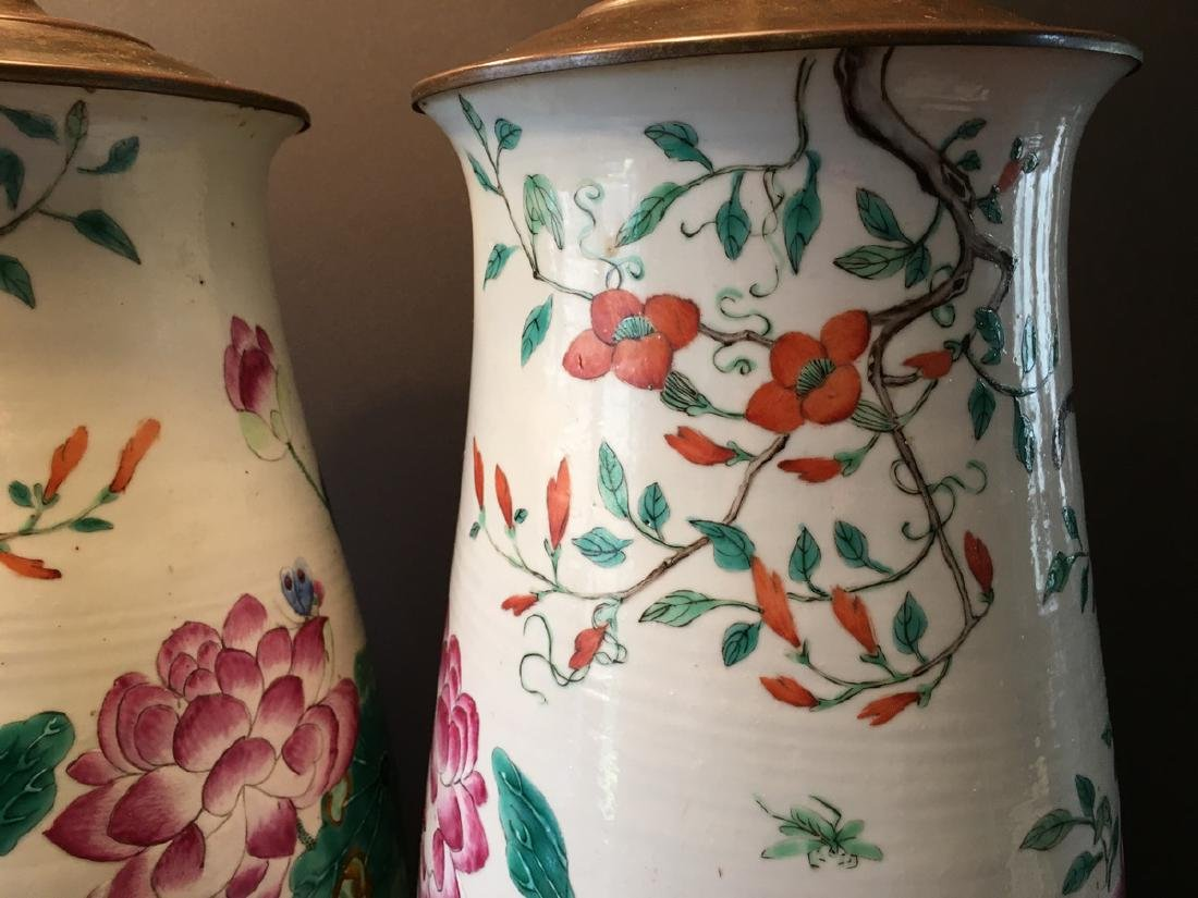 ANTIQUE Chinese Large Famillie Rose flower Vase Lamps, - 5