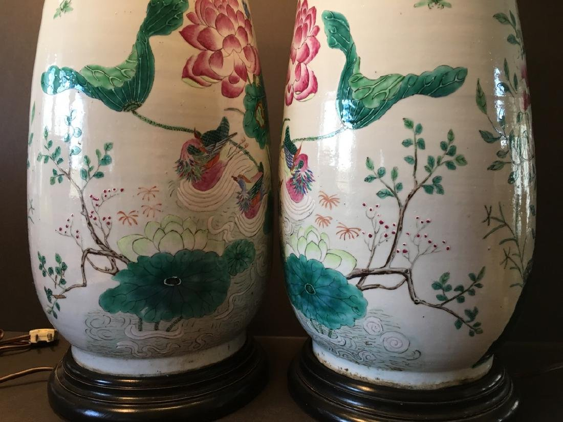 ANTIQUE Chinese Large Famillie Rose flower Vase Lamps, - 6