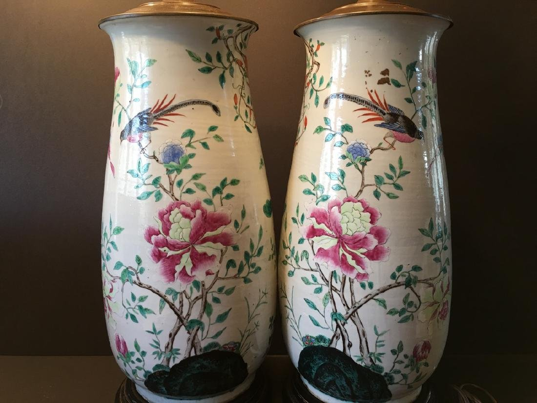 ANTIQUE Chinese Large Famillie Rose flower Vase Lamps, - 7