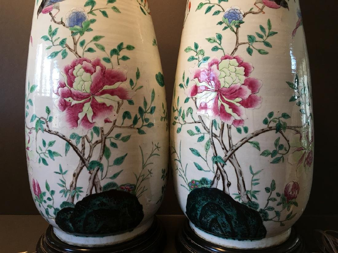 ANTIQUE Chinese Large Famillie Rose flower Vase Lamps, - 8