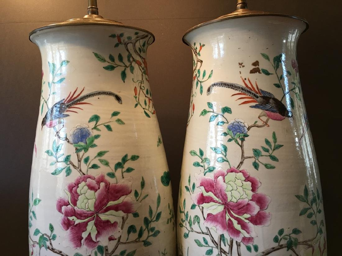 ANTIQUE Chinese Large Famillie Rose flower Vase Lamps, - 9