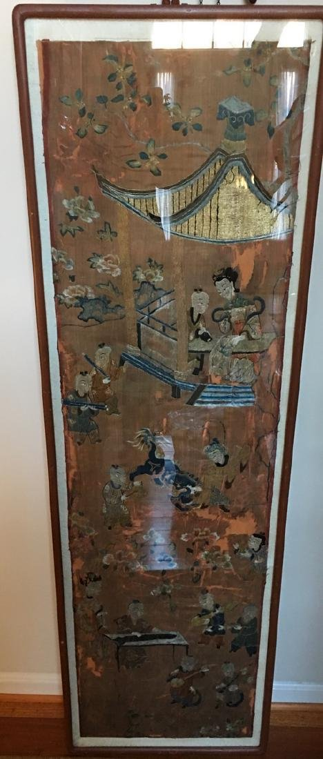 ANTIQUE Large Chinese Embroidery panel, 19th Century