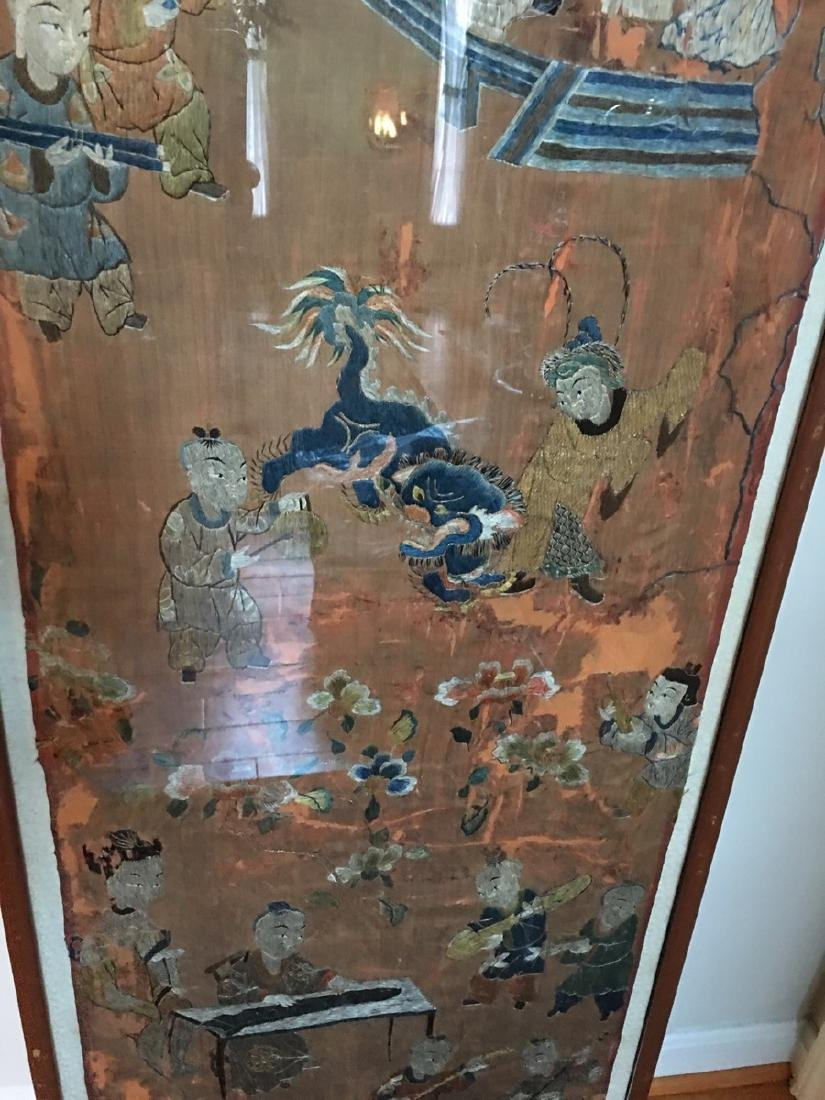 ANTIQUE Large Chinese Embroidery panel, 19th Century - 2