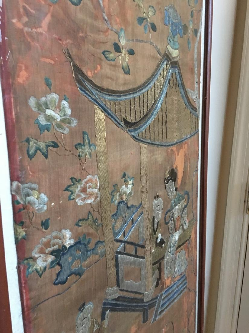 ANTIQUE Large Chinese Embroidery panel, 19th Century - 4