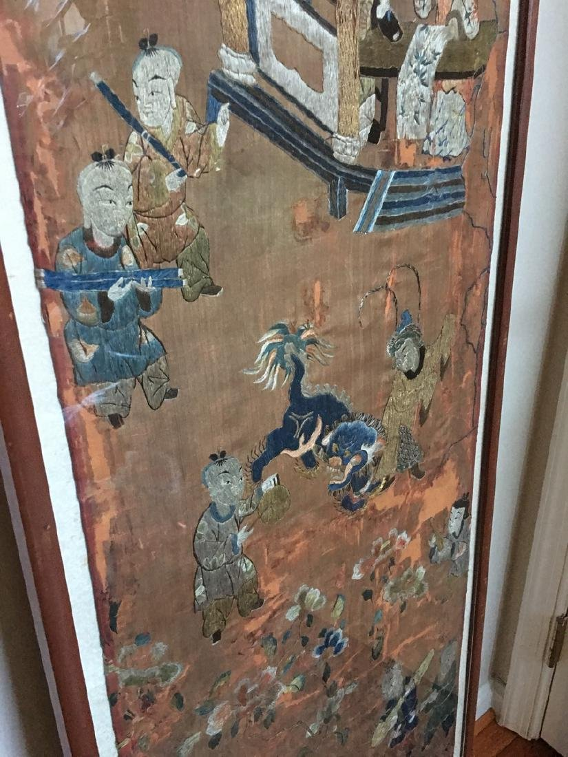 ANTIQUE Large Chinese Embroidery panel, 19th Century - 5