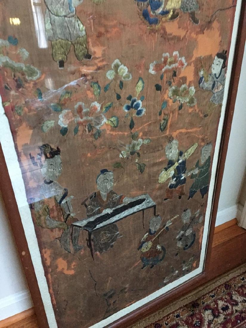 ANTIQUE Large Chinese Embroidery panel, 19th Century - 6