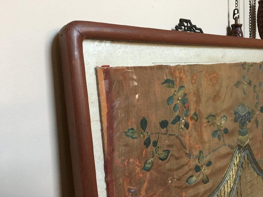 ANTIQUE Large Chinese Embroidery panel, 19th Century - 8