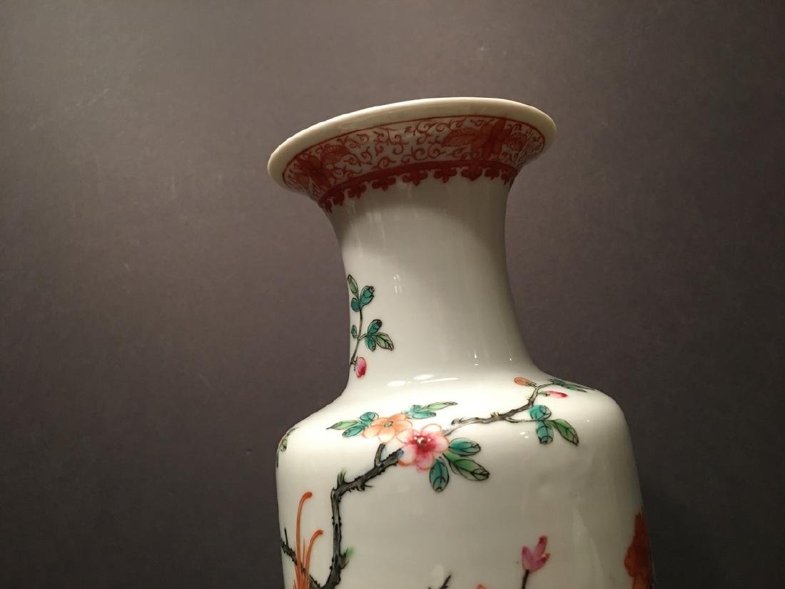 ANTIQUE Chinese Famille Rose Vase, Republic Period. - 5