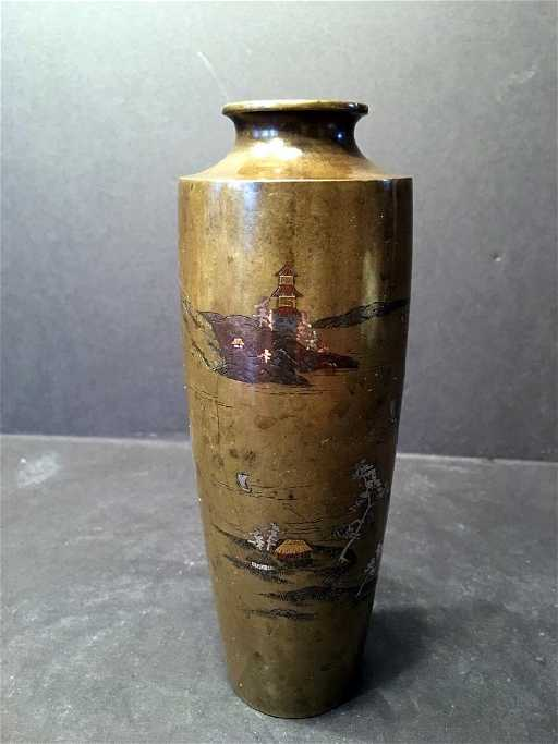 Antique Japanese Bronze Vase Marked And Meiji Period