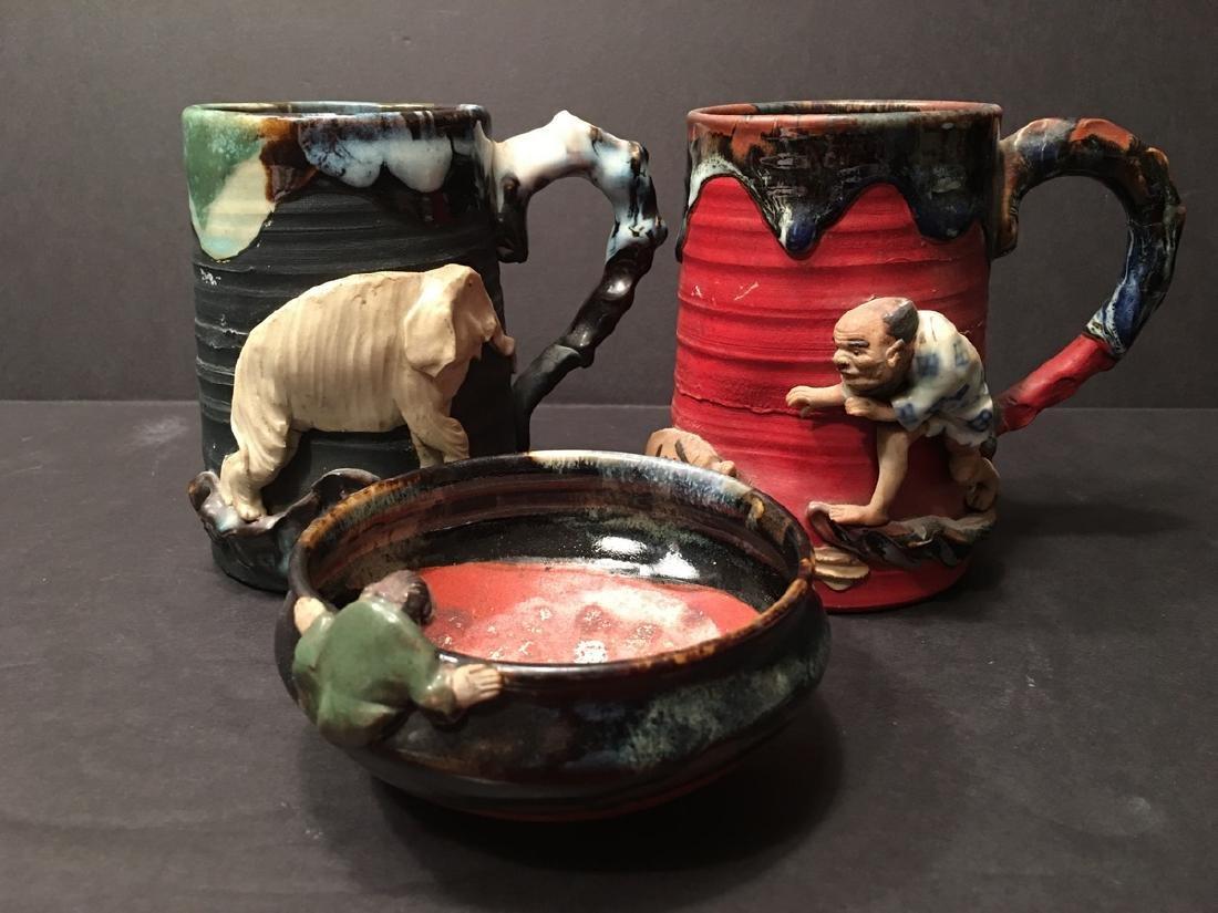 Antique Japanese Sumida Gawa Mugs and bowl with