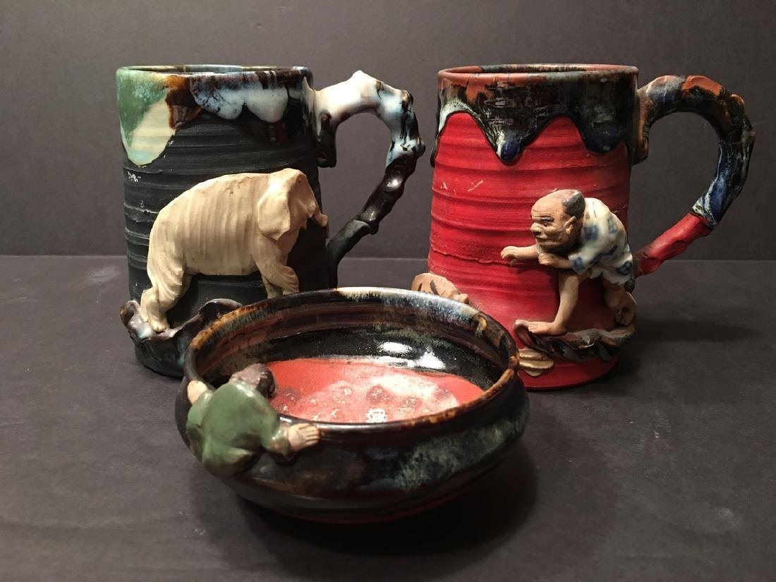 Antique Japanese Sumida Gawa Mugs and bowl with