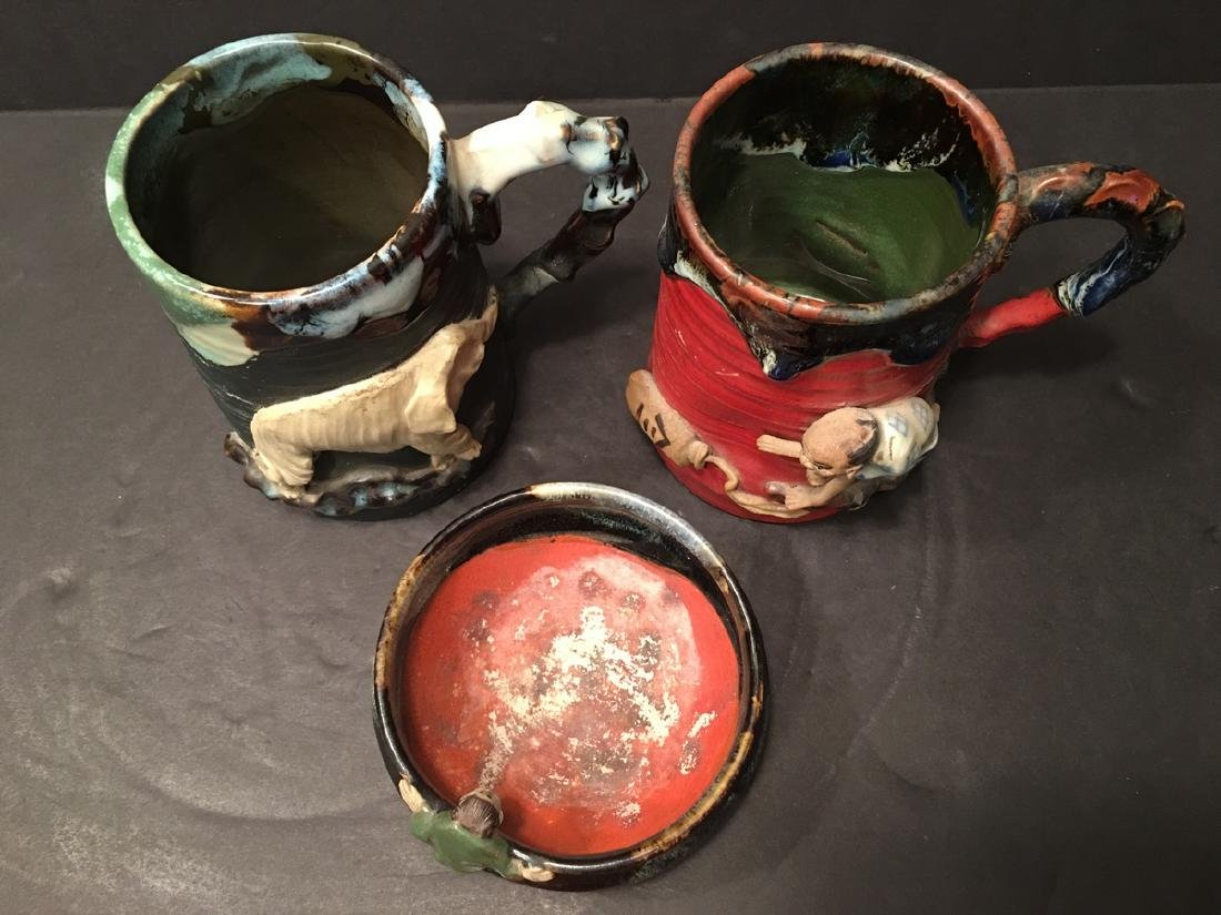 Antique Japanese Sumida Gawa Mugs and bowl with - 2