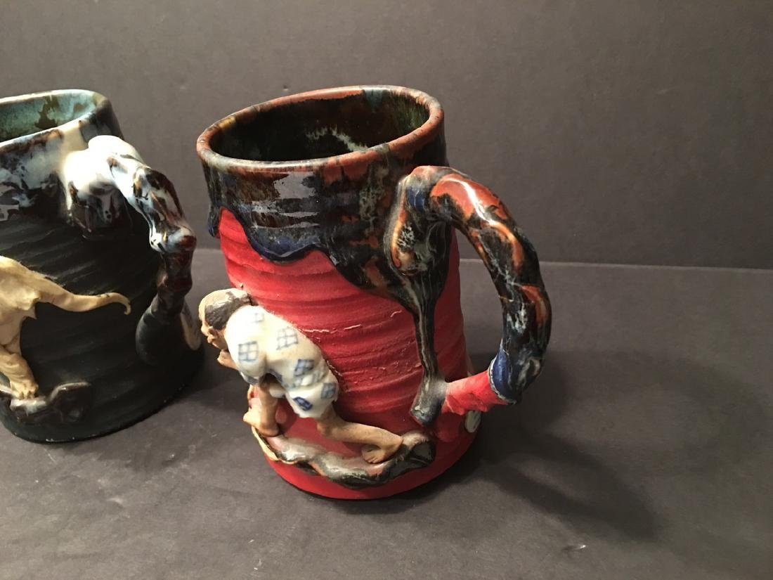 Antique Japanese Sumida Gawa Mugs and bowl with - 9