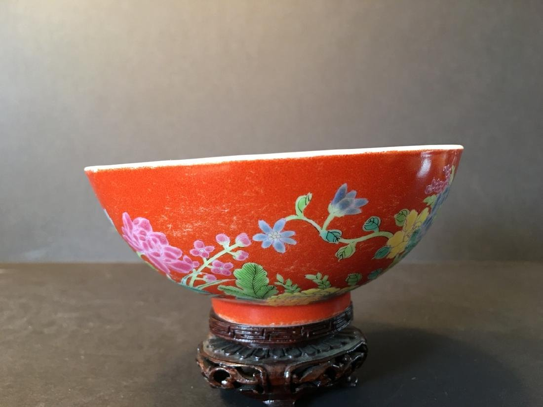 ANTIQUE Important  ChineseFamille Rose Flower Bowl, - 3