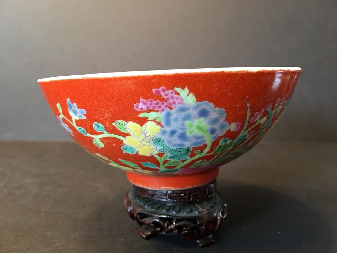ANTIQUE Important  ChineseFamille Rose Flower Bowl, - 4