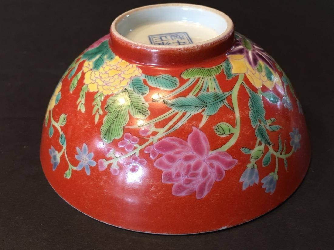 ANTIQUE Important  ChineseFamille Rose Flower Bowl, - 9