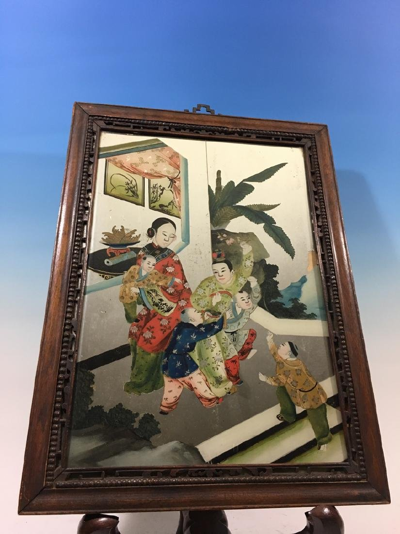 ANTIQUE Chinese Glass Mirror with Reverse Painting,