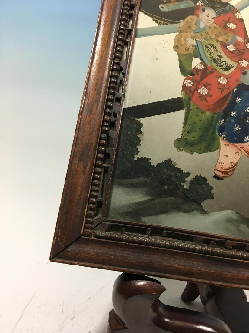 ANTIQUE Chinese Glass Mirror with Reverse Painting, - 3