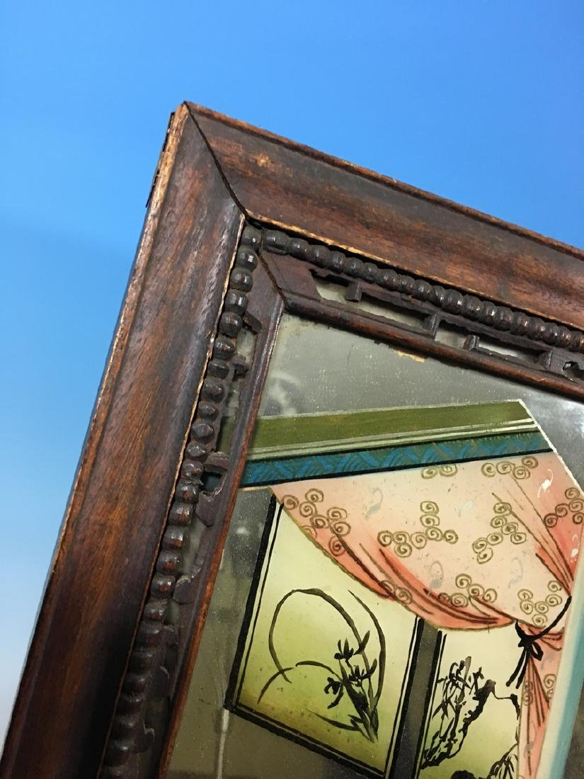ANTIQUE Chinese Glass Mirror with Reverse Painting, - 6