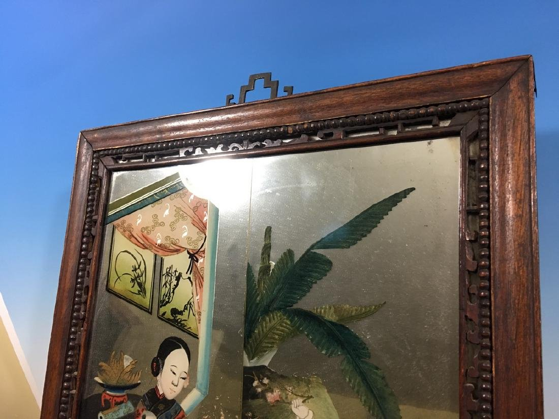 ANTIQUE Chinese Glass Mirror with Reverse Painting, - 8