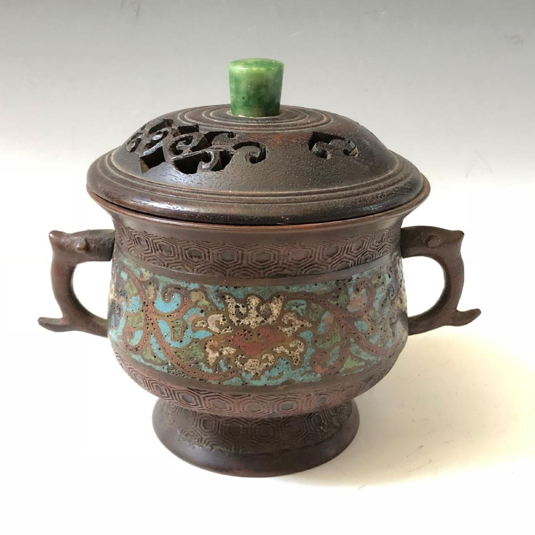 A CHINESE ANTIQUE ENAMEL CENSER