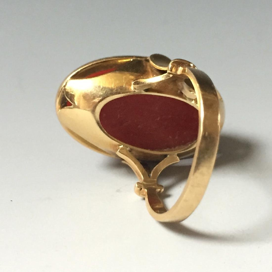 A FINE 14K GOLD RED CORAL RING, WEGHT: 10.20g. - 4