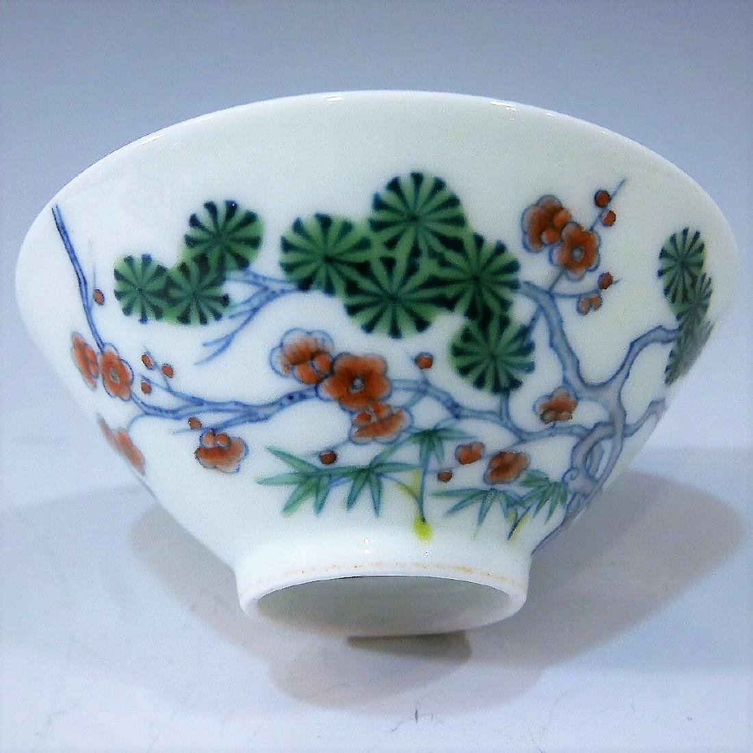 IMPERIAL CHINESE ANTIQUE DOUCAI PORCELAIN CUP - - 2