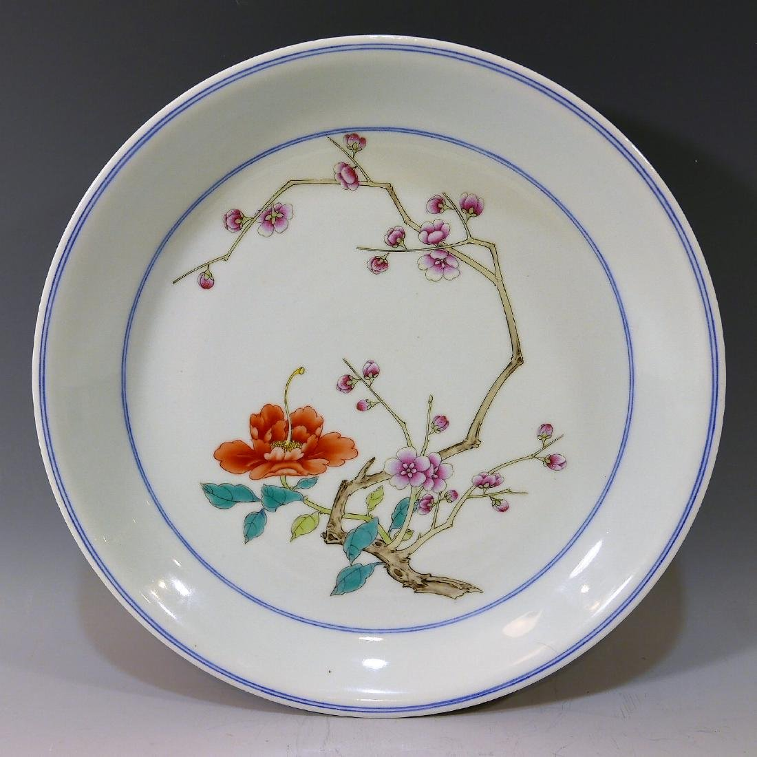 CHINESE ANTIQUE IMPERIAL FAMILLE ROSE PORCELAIN PLATE -
