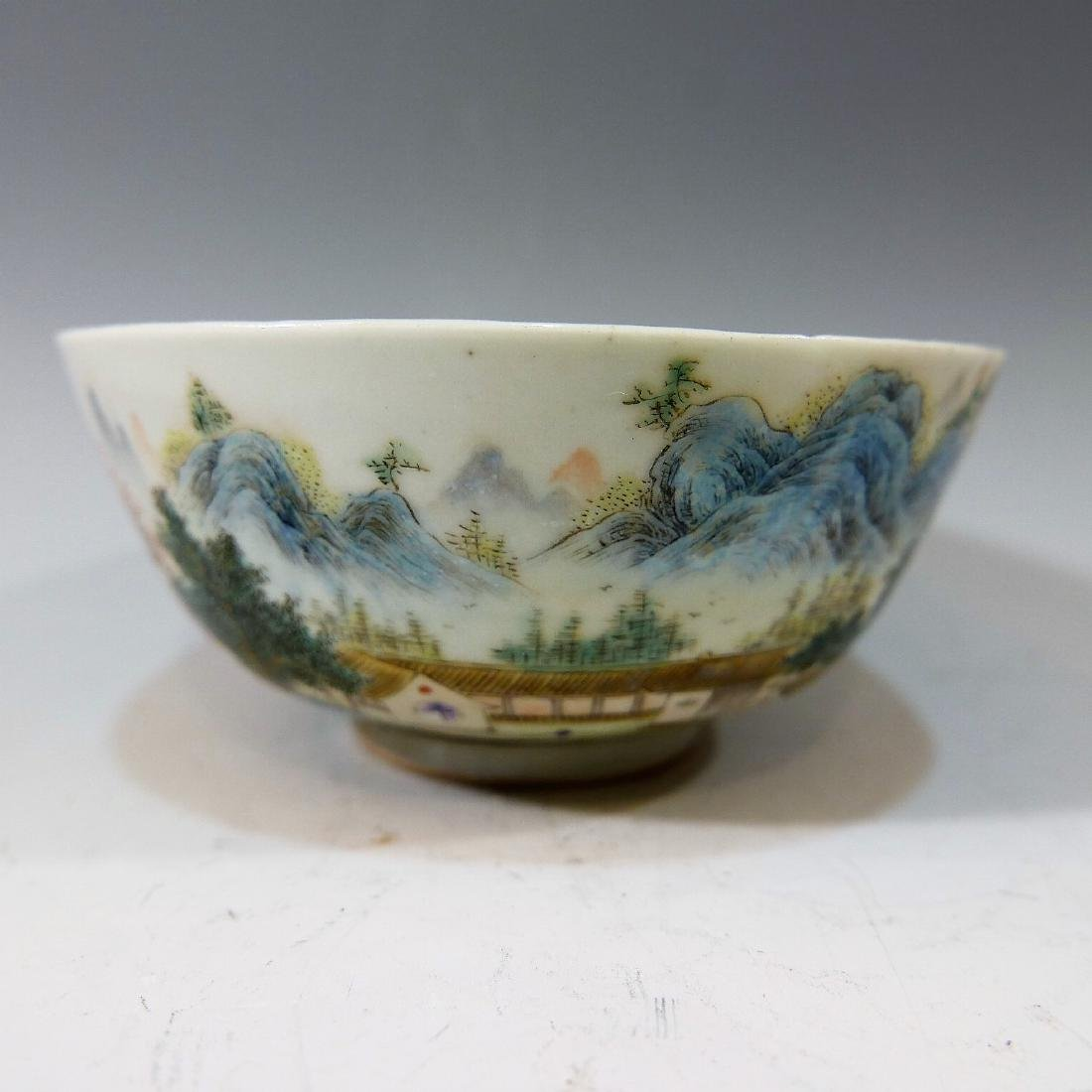 CHINESE ANTIQUE FAMILLE ROSE PORCELAIN BOWL - 19TH - 2