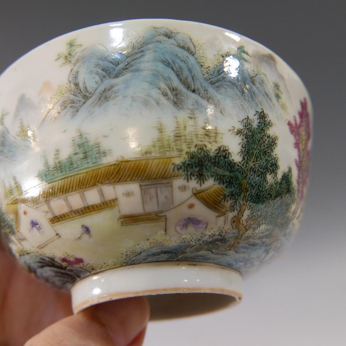 CHINESE ANTIQUE FAMILLE ROSE PORCELAIN BOWL - 19TH - 4
