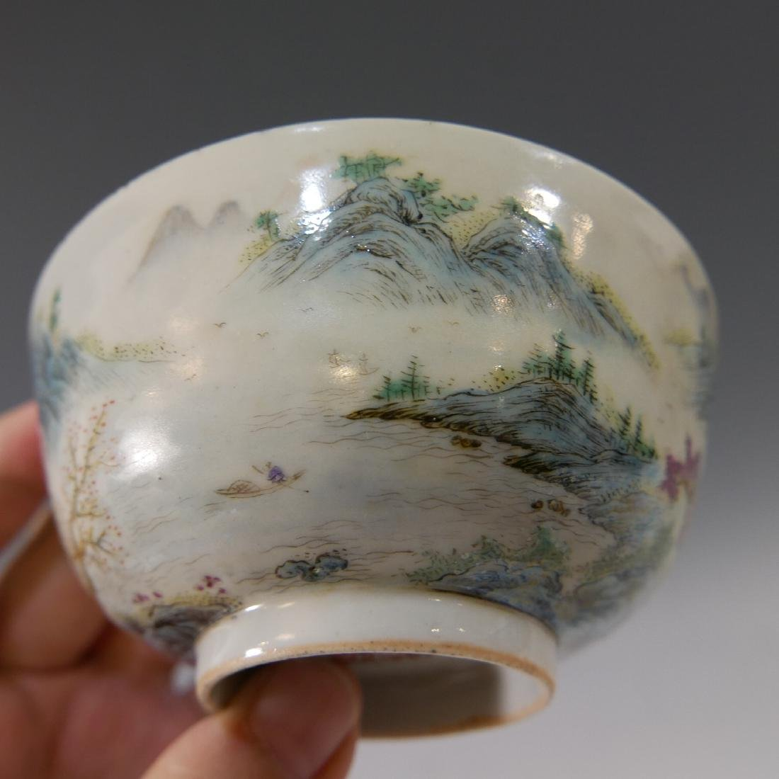 CHINESE ANTIQUE FAMILLE ROSE PORCELAIN BOWL - 19TH - 5