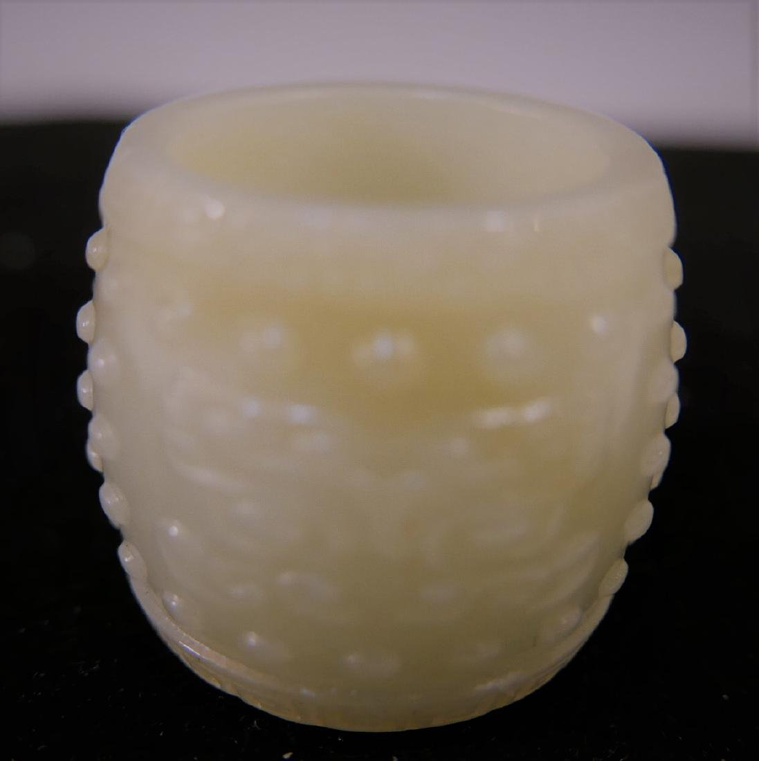 CHINESE ANTIQUE JADE CARVED THUMB RING - 18TH CENTURY - 2