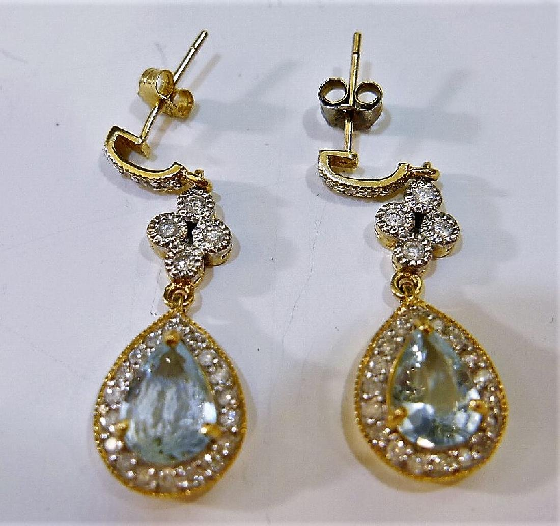 IMPRESSIVE 14K GOLD AQUAMARINE AND DIAMOND EARRINGS