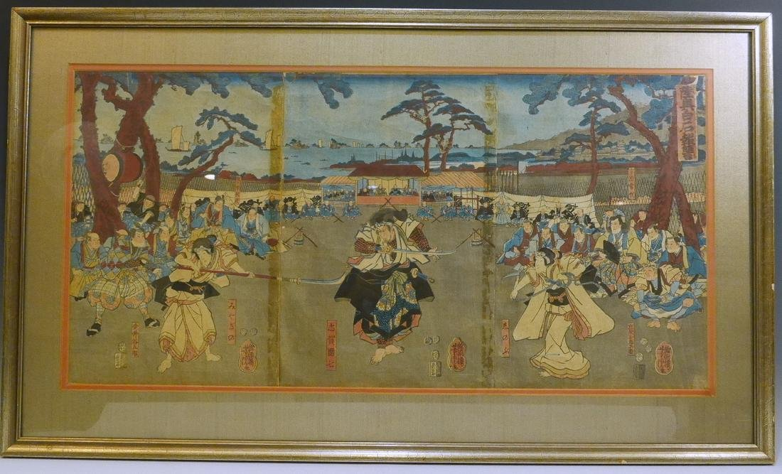 JAPANESE ANTIQUE WOODBLOCK PRINT TRIPTYCH