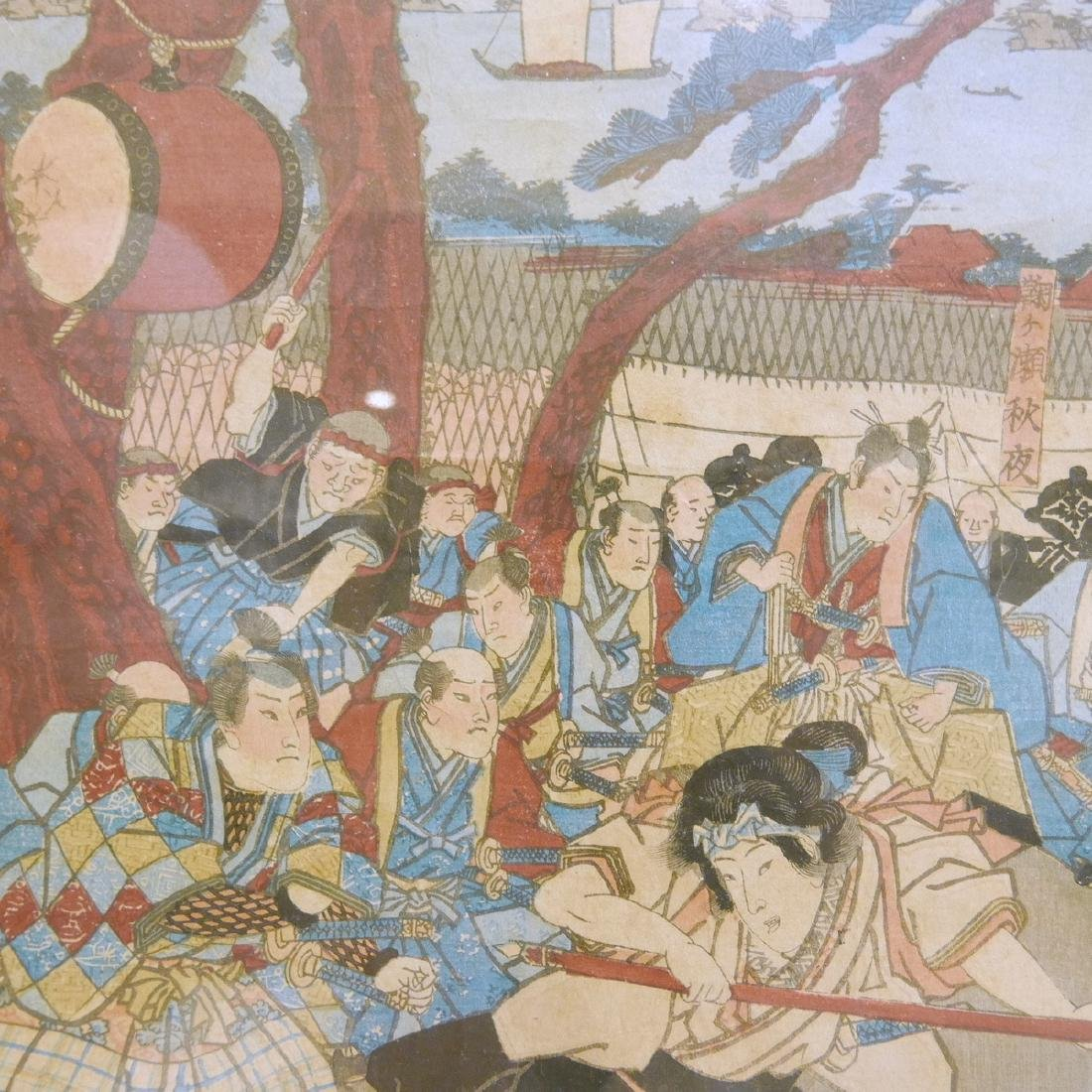 JAPANESE ANTIQUE WOODBLOCK PRINT TRIPTYCH - 6