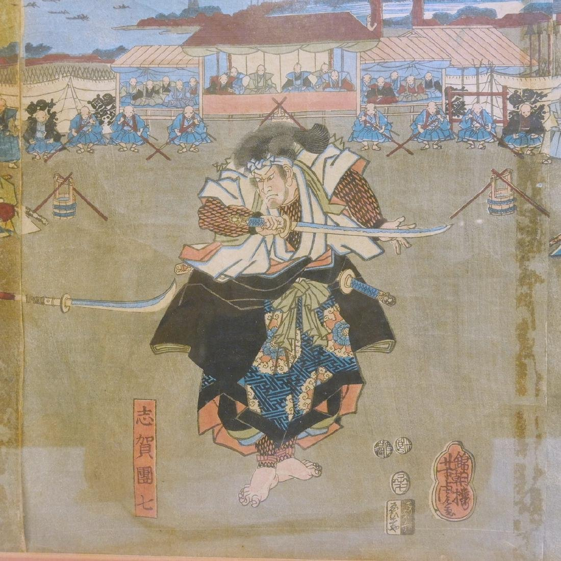 JAPANESE ANTIQUE WOODBLOCK PRINT TRIPTYCH - 7