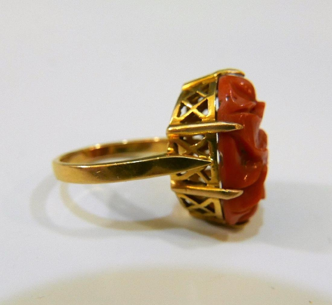 14K GOLD RED CORAL RING 5 GRAMS - 2