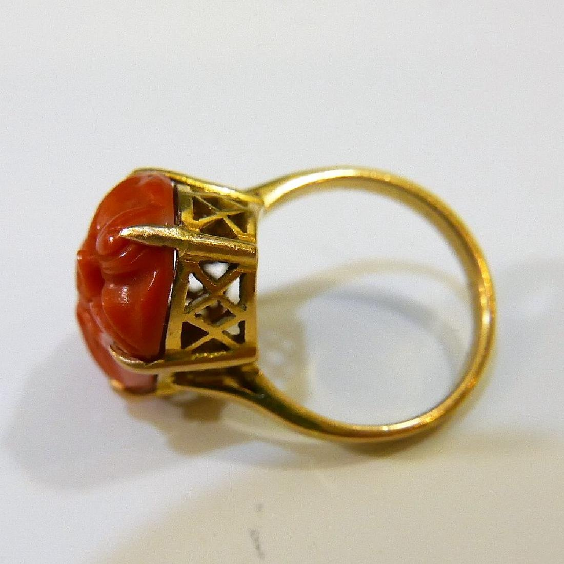 14K GOLD RED CORAL RING 5 GRAMS - 4