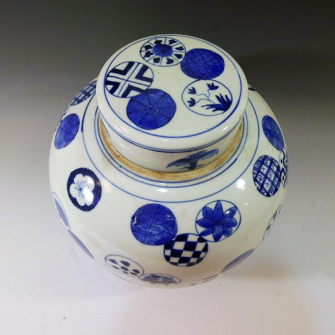 ANTIQUE CHINESE BLUE WHITE PORCELAIN COVER JAR - QING - 2