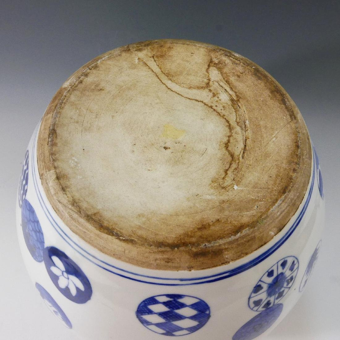ANTIQUE CHINESE BLUE WHITE PORCELAIN COVER JAR - QING - 3