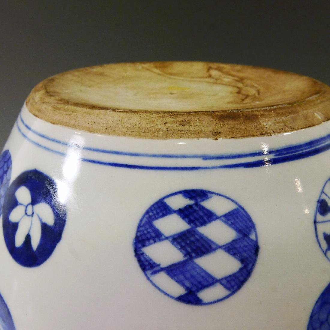 ANTIQUE CHINESE BLUE WHITE PORCELAIN COVER JAR - QING - 4