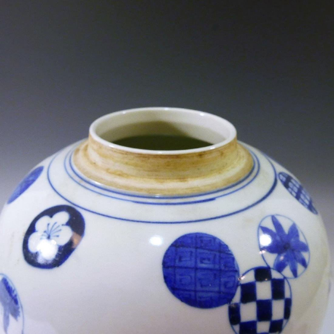 ANTIQUE CHINESE BLUE WHITE PORCELAIN COVER JAR - QING - 6