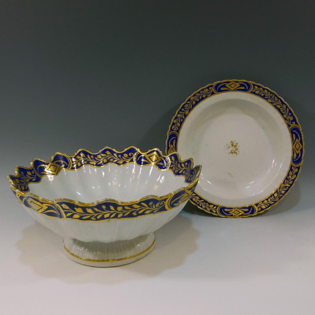 CHINESE ANTIQUE BLUE & GILT BOWL AND PLATE - 18TH
