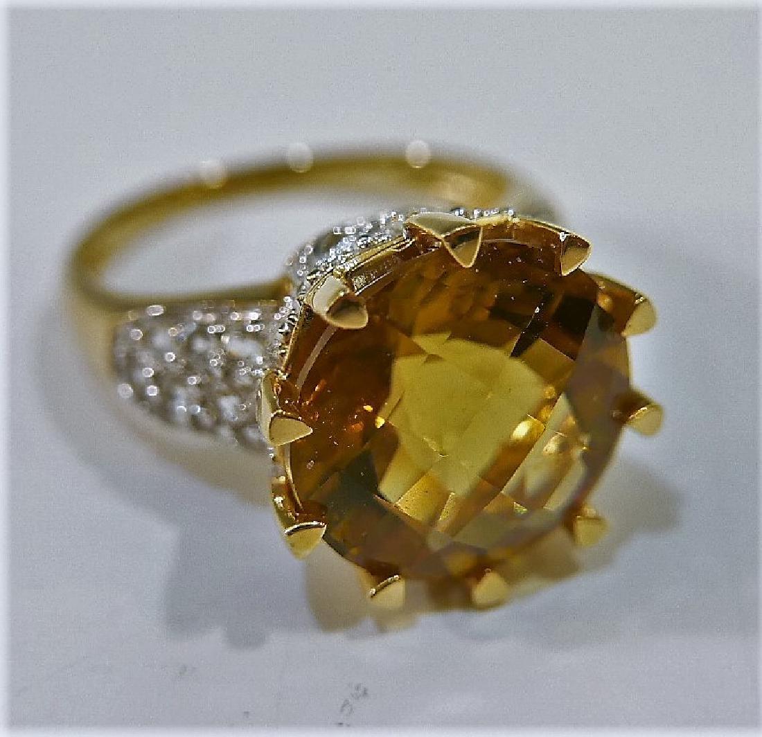 14K GOLD CITRINE AND DIAMOND RING 6G