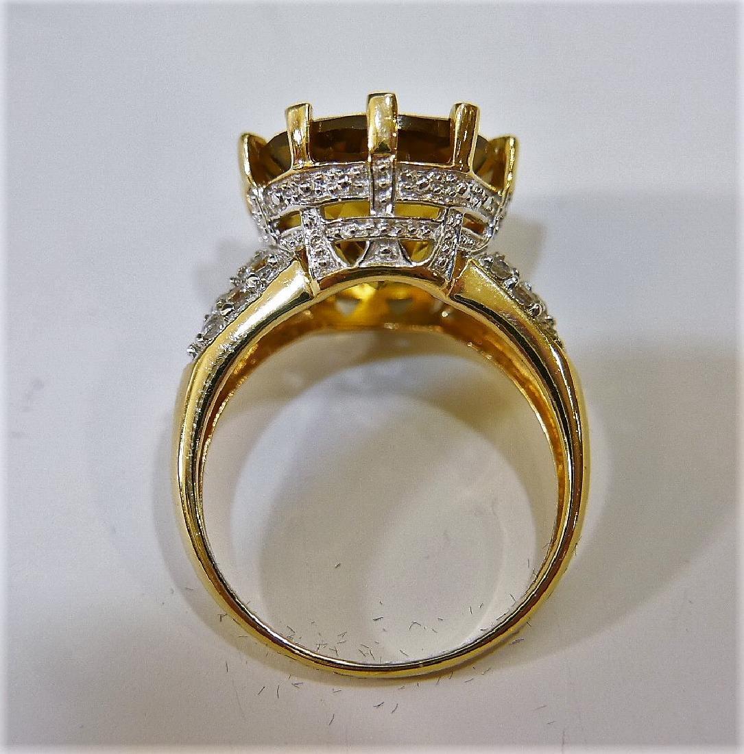 14K GOLD CITRINE AND DIAMOND RING 6G - 2