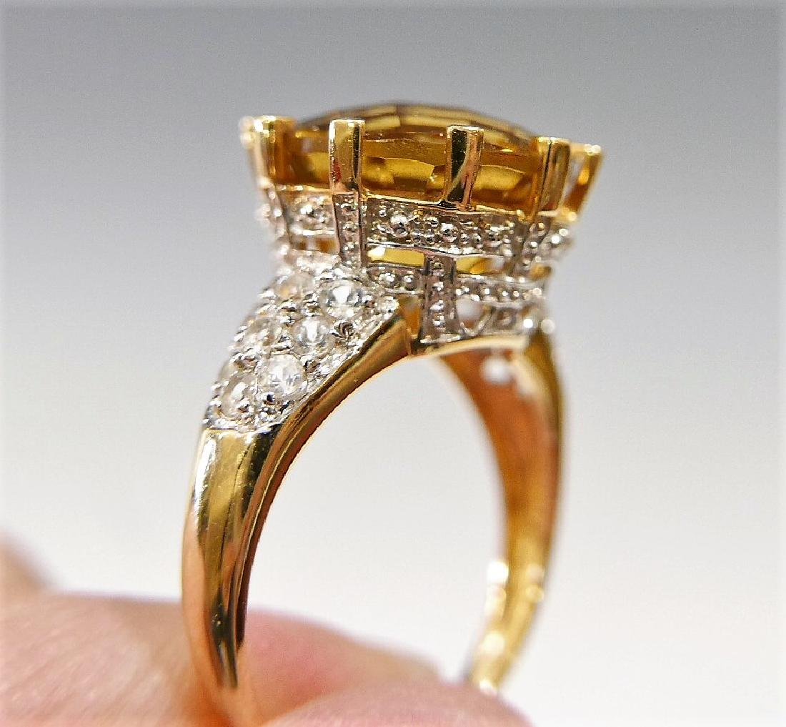 14K GOLD CITRINE AND DIAMOND RING 6G - 3