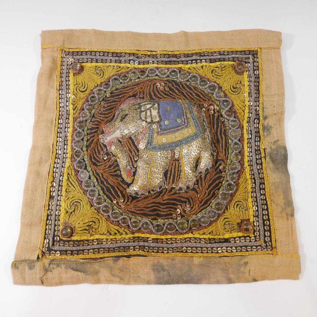 ANTIQUE INDIAN ELEPHANT EMBROIDERY